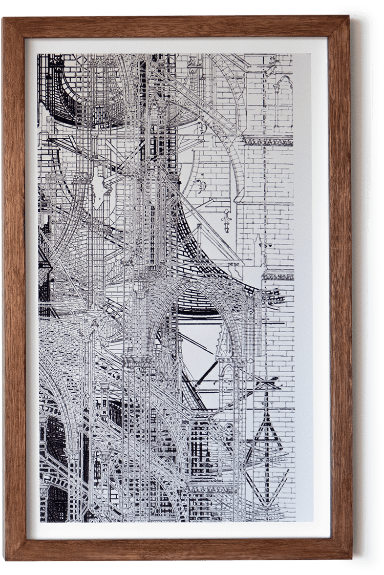 Collage of section drawings of gothic architecture.